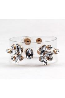 Bracelet manchette transparent orné de pierres
