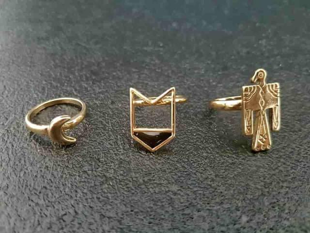 Lot bagues doré bijoux tendance