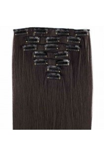Extensions de cheveux à clips couleur châtain foncé