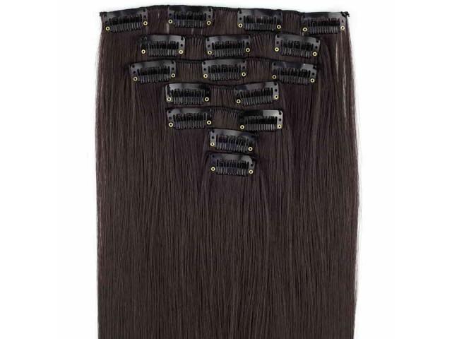 Extensions de cheveux à clips couleur châtin foncé