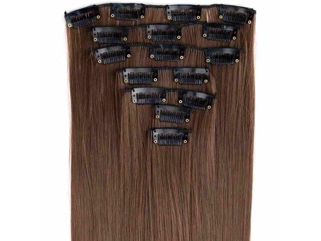 Extensions de cheveux à clips couleur chocolat