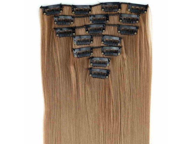 Extensions de cheveux à clips couleur blond miel