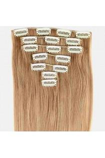 Extensions de cheveux à clips méché couleur Golden Brown / Sunlight Blonde