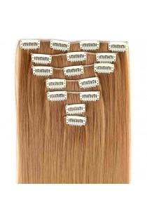 Extensions de cheveux à clips couleur blond foncé