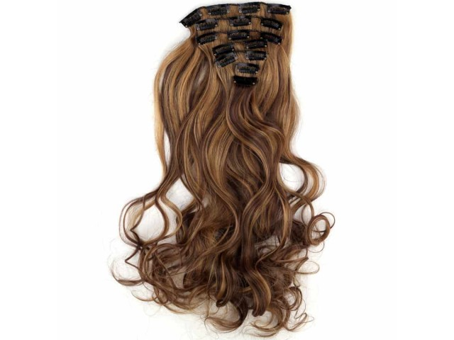 Kit extension à clips ondulé 60 cm méché balayage couleur noisette blond moyen
