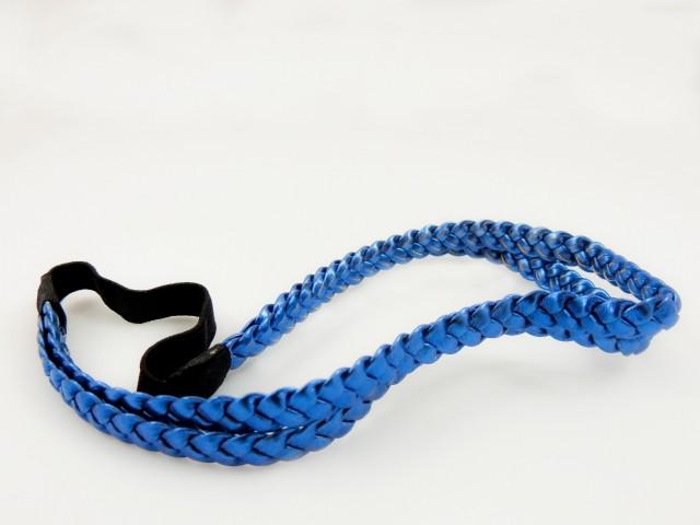 Serre tête double tresse avec élastique - Bleu électrique