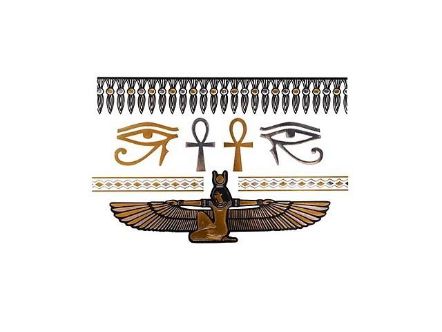 Kit tatouage temporaire métallique - Body Art - Argent/Or Cléopâtre