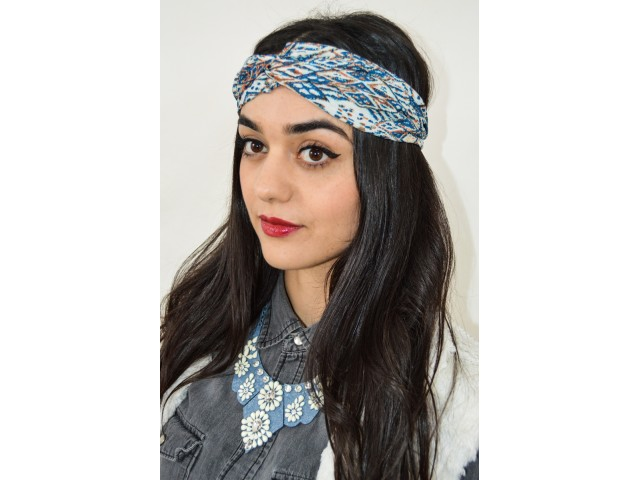 Turban fin vintage au ton bleuâtre