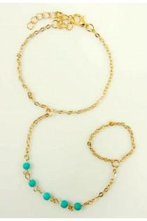 Chaîne de main ornée de cristaux en turquoise