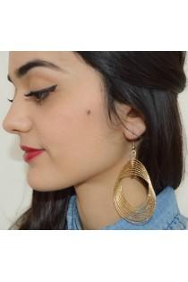 Boucles d'oreilles dorées ornées de plusieurs cercles