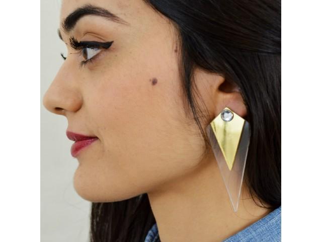 Boucles d'oreilles imposantes de forme géométrique