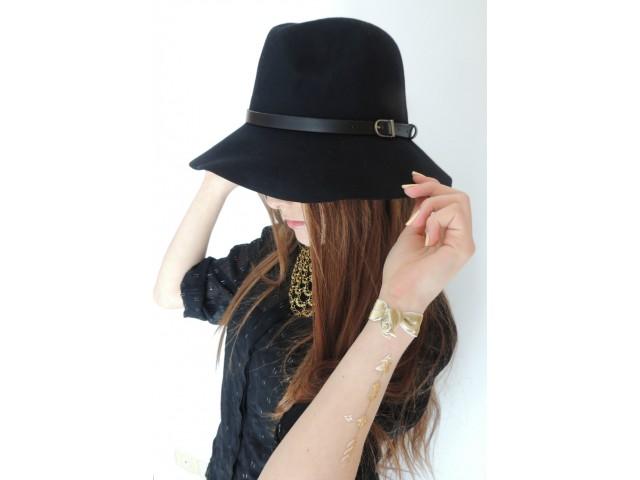 Chapeau mou en feutre avec bord surpiqué - Noir