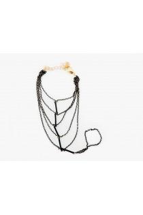 Bracelet bague fine en métal couleur noir et or