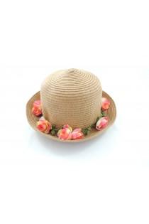 chapeau de soleilorné de jolies fleurs roses