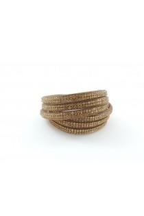 Bracelet / Collier choker coulissant orné de petits cristaux marron noisette