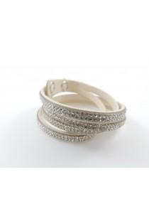 Bracelet/ Collier choker coulissant orné de petits cristaux blanc cassé