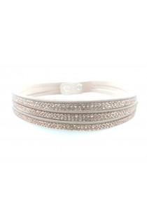 Bracelet/ Collier choker coulissant orné de petits cristaux nude