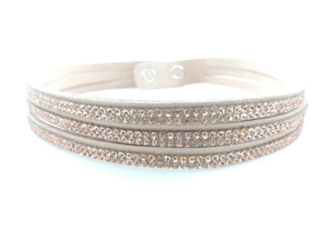 Bracelet coulissant orné de petits cristaux nude