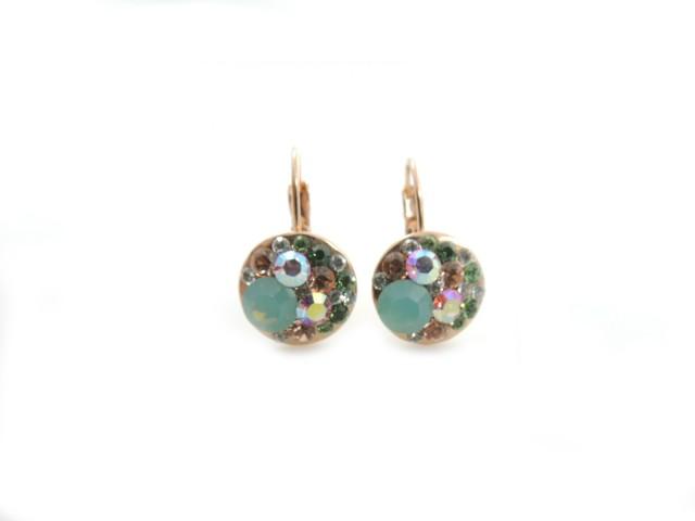 Boucles d'oreilles pendantes avec cristaux colorés