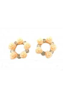 Clous d'oreilles avec roses pêches et cristaux